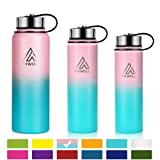 Hiwill Stainless Steel Insulated Water Bottle 2 Lids, Cold 24 Hours Hot 12 Hours, Double Wall Vacuum Thermos Flask, Travel Sports Leak Proof Metal Bottle with Straw (Sweet Taffy, 37 OZ) (Color: 2 lids-Sweet Taffy, Tamaño: 2 lids 37oz)