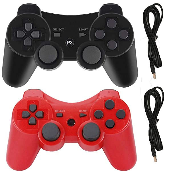PS3 Controllers for Playstation 3 Dualshock Six-axis, Wireless Bluetooth Remote Gaming Gamepad Joystick Includes USB Cable (Black and Red,Pack of 2) (Color: Black and Red)