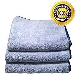 Auto Detailing Towels - Professional Grade Premium 70/30 Split Microfiber Cloth 16 X 16 520 GSM (Pack of 3) - Best Microfiber Cleaning Cloth Preferred By Professional Detailers. The Cleaning Microfiber That\'s Ultra Thick, Super Absorbent with Silk Banded