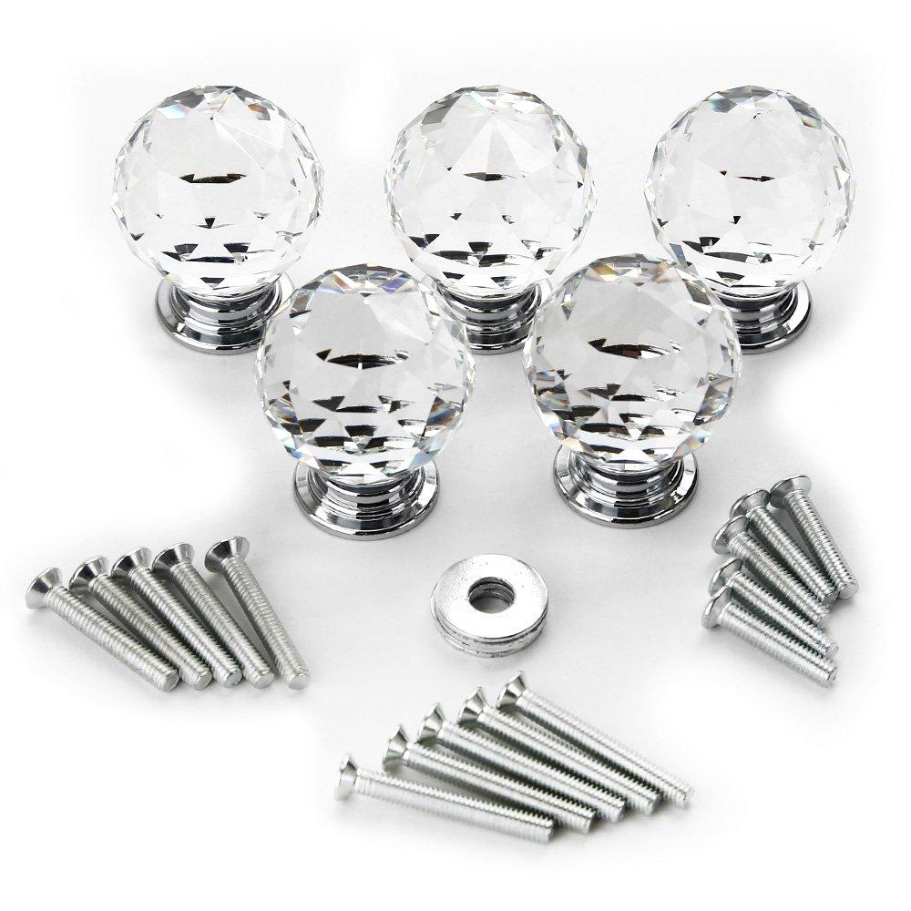 Gimbal® 5*30MM Kristall Glas Möbelgriffe sphärisch Möbelknauf Möbelknopf Schrauben Möbelgriffe Set Schrankgriff Neu online bestellen