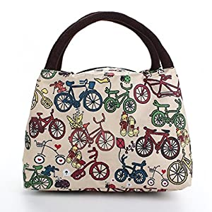 airstomi women 39 s lunch bag bicycle pattern best fashion lunch bag tote bag kitchen. Black Bedroom Furniture Sets. Home Design Ideas