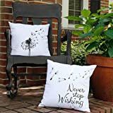 Set of 2 RoomCraft Never Stop Wishing Dandelion Throw Pillows 16x16 Square White Indoor-Outdoor Cushions