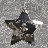 Personalised My 1st Christmas Star Tree Decoration/Bauble/Gift First Christmas Baby - Silver Mirror - LittleShopOfWishes