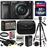 Sony Alpha a6000 24.3 MP Interchangeable Mirrorless Lens Camera with 16-50mm Power Zoom Lens (ILCE6000L B) with Must Have Accessories Bundle Kit includes 32GB Class 10 SDHC Memory Card + Replacement (1200mAh) NP-FW50 Battery + Home Wall Charger with Car and European Adapter + Professional 60
