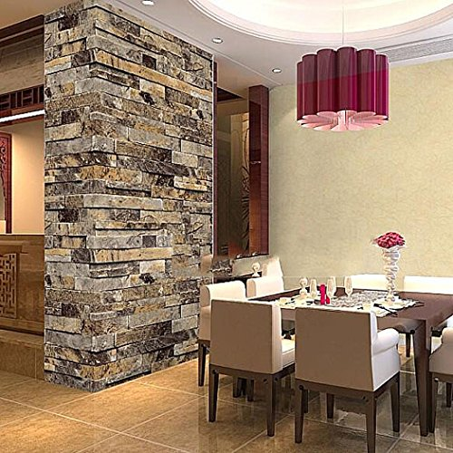 Homdox 3D Vinyl Brick Wallpaper Stack Stone Brick Tile Stick