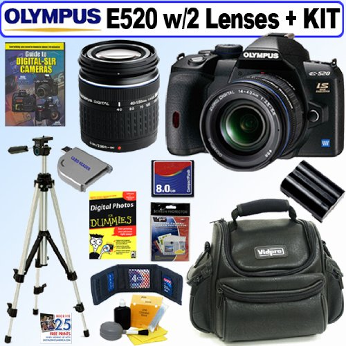 The Electronics World |   Olympus Evolt E520 10MP Digital SLR Camera with 14-42mm f/3.5-5.6 and 40-150mm f/4.0-5.6 ED Zuiko Lenses + 8GB Deluxe Accessory Kit :  digital olympus 10mp olympus evolt e520 10mp digital slr camera 40150mm zuiko lenses