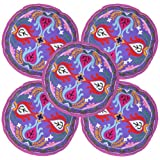 Traditional Flower Embroidered Round Cotton Cushion Covers 18 Inches Set 5 Pcs
