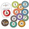 """Stick'Nsnap(TM) 12 unisex """"Happy Colors"""" (TM) milestones first year monthly growth stickers for baby boy or girl. 3.25'' inch diameter sticker. To put on shirt bodysuit creeper bibs bottoms or ONESIE. Use every month to take pictures and add to scrapbook as keepsake. Use as gift or baby room d�cor. Bright bold colors - Best Baby Shower Gift!"""