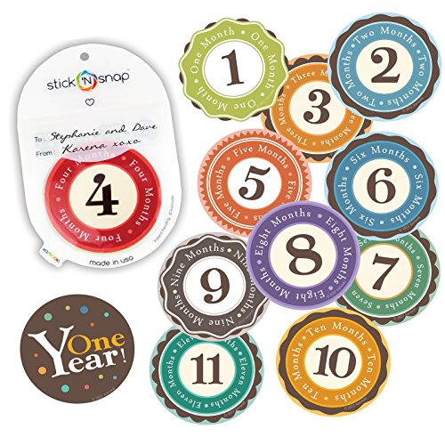 "Huge sale! Stick'Nsnap(TM) 12 ""Happy Colors"" milestones first year monthly growth stickers for baby boy or girl. 3.25'' inch diameter sticker. To put on shirt bodysuit creeper bibs bottoms or ONESIE. Use every month to take pictures and add to scrapbook as keepsake. Use as gift or baby room décor. Bright bold colors - Best Baby Shower Gift! (1 Pack)"