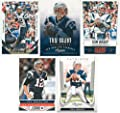 Tom Brady 5 Card Gift Lot Containing One Each of His 2015 Score, 2014 Score, 2013 Score, 2013 Prestige and 2011 Prestige Mint Condition New England Patriots Cards