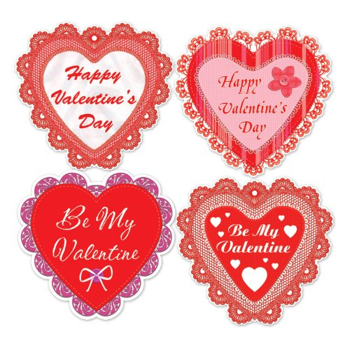 Beistle 77756 Happy Valentine's Day Lace Heart Cutouts, 14-Inch, 4 Per Package