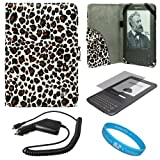 Leopard Pattern Design Protective Portfolio Nylon Carrying Case Cover for Amazon Kindle 3rd Generation Wireless Reading Device 3G Wi-Fi 6 inch LCD Display + Clear Screen Protector Guard for Kindle 3 Wifi + Rapid Car Charger with IC Chip + SumacLife TM Wisdom Courage Wristband