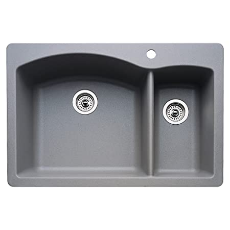 Blanco 511-643 Diamond 1-1/2 Bowl Kitchen Sink, Metallic Gray Finish
