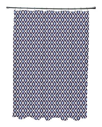 e by design Bird's Eye Shower Curtain, Blue/White/Red