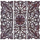 Benzara Wooden Wall Plaque, Brown, Set of 3