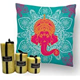 MySocialTab - Diwali Gift Combo Of 12X12 Inches Cushion And Set Of 3 Scented Pillar Candles,DIWALIGIFTS803MST...