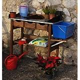 Pflanztisch 90x40x90cm Holz Tisch inkl. Seitenablage inkl. Kunststoffeimer 12L
