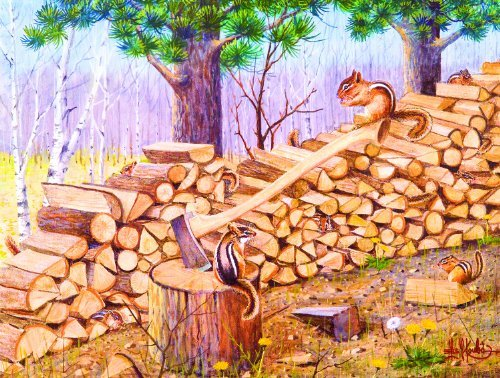Cheap SunsOut The Chipmunk Hotel 500pc Jigsaw Puzzle by Les Kouba (B004HSBX0C)
