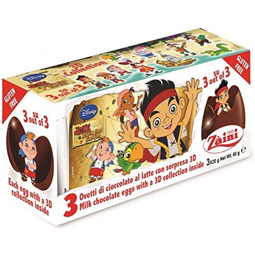 Disney JAKE THE PIRATES Zaini Milk Chocolate with Surprise Collection 3 Eggs