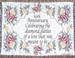 60th Wedding Anniversary Sofa Throw - 60th Anniversary Gift - Made in USA by Jubilee Celebrations by Wellhaven