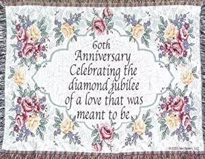 amazoncom 60th wedding anniversary sofa throw 60th