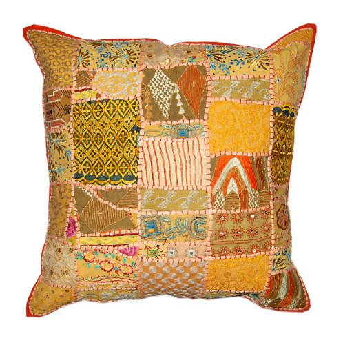 Lovely Home Decor Art Rajrang Patch Work & Mirror & Embroidery Work Light Yellow Color Cotton Cushion Cover/ Throw Pillow Cover Comforter Sets India Size: 24 X 24 Inches (Pcs 2)
