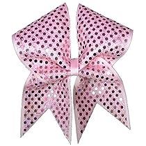 Pink Ribbon Sparkler Cheer Bow