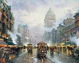 42in x 33in San Francisco Market Street by Thomas Kinkade - Stretched Canvas w/ BRUSHSTROKES