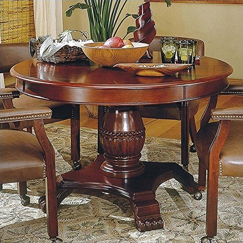 """Steve Silver Tournament 48"""" Wood Round Casual Dining Table in Cherry Finish"""