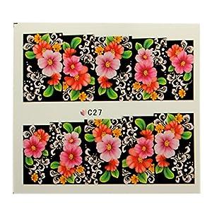 Sticker Ongle Manucure Autocollant Vernis Manucure Décalque Fleur Nail Art Déco