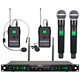 Wireless Microphone System, Phenyx Pro 4-Channel UHF Cordless Mic Set With Handheld/Lapel/Headset/Bodypack, Rugged Metal Build, Fixed Frequency, Long Range, Ideal for Church,Karaoke,Events(PTU-5000B) (Color: PTU-5000B, Tamaño: Handheld Mic/Lapel/Headset Combo)