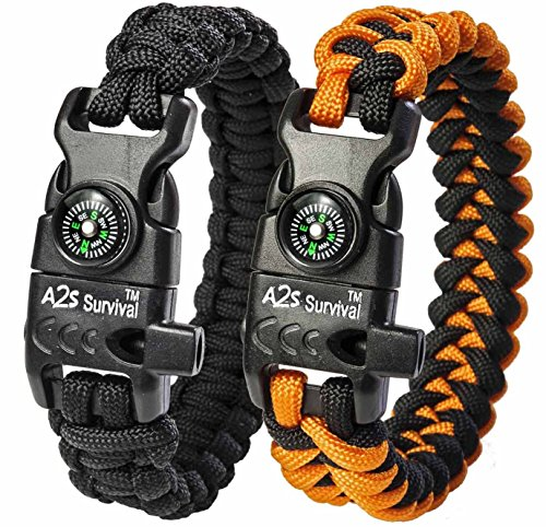 A2S Paracord Bracelet K2-Peak Series - Survival Gear Kit with Embedded Compass, Fire Starter, Emergency Knife & Whistle - Pack
