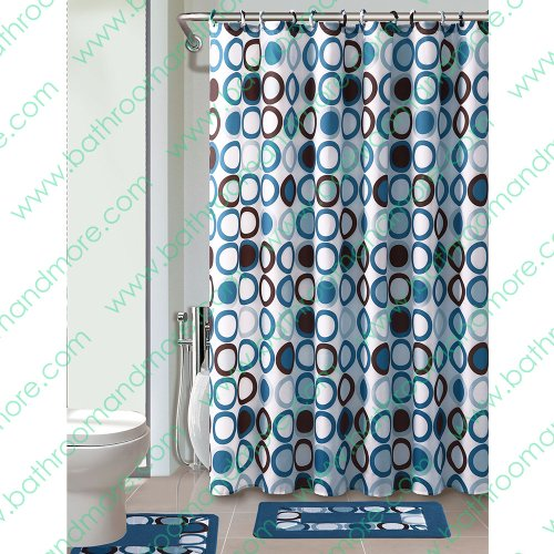 Blue/white/brown 15-piece Bathroom Set: 2-rugs/mats, 1-fabric Shower Curtain, 12-fabric Covered Rings