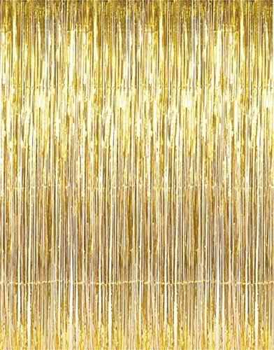 Mcolour Balloon 3 ft x 8 ft Metallic Gold Foil Fringe Curtains for Party,Prom,Birthday,Event Decorations(1 Piece) (Gold Streamer Backdrop compare prices)