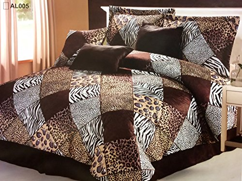 7 Pc Animal Cheetah, Zebra, Tiger Microfur Print Comforter Set Queen front-1004917