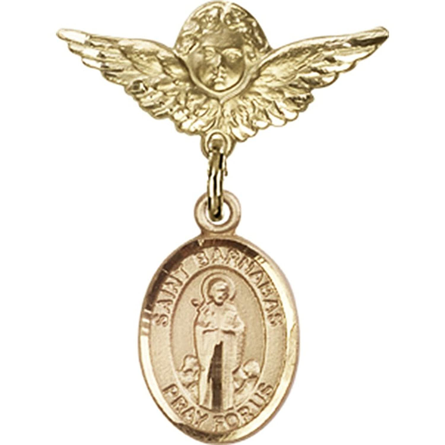 14kt Yellow Gold Baby Badge with St. Barnabas Charm and Angel w/Wings Badge Pin 1 X 3/4 inches 14kt yellow gold baby badge with st barnabas charm and angel w wings badge pin 1 x 3 4 inches