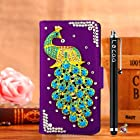 Locaa(TM) Apple IPod touch 5 Itouch5 3D Bling Peacock Case + Phone stylus + Anti-dust ear plug Deluxe Luxury Crystal Pearl Diamond Rhinestone eye-catching Beautiful Leather Retro Support bumper Cover Card Holder Wallet Cases [Peacock Series] Purple case - Skyblue peacock