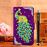 Locaa(TM) Sony Xperia M2 SonyM2 Sony M2 S50h 3D Bling Peacock Case + Phone stylus + Anti-dust ear plug Deluxe Luxury Crystal Pearl Diamond Rhinestone eye-catching Beautiful Leather Retro Support bumper Cover Card Holder Wallet Cases [Peacock Series] Purp