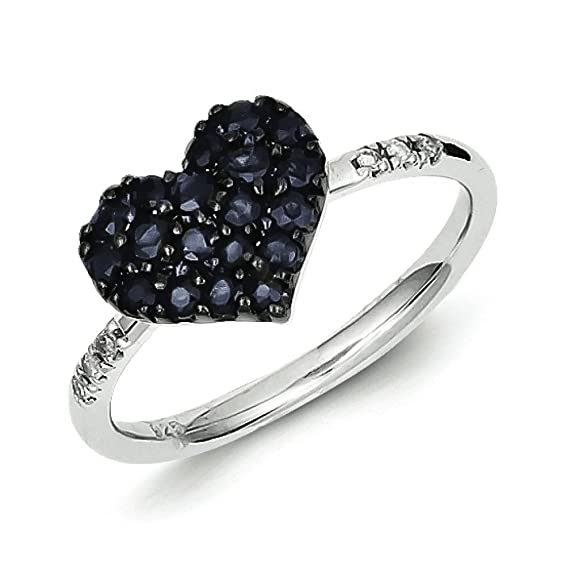 Sterling Silver Diamond and Sapphire Heart Ring - Ring Size Options Range: L to P
