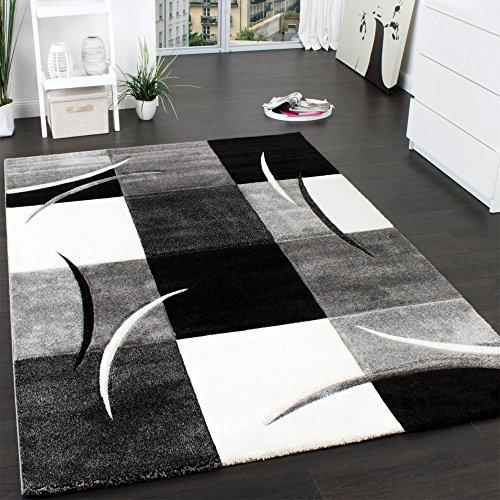 Designer-Teppich-mit-Konturenschnitt-Muster-Kariert-in-Schwarz-Weiss-Grau-Grsse60x110-cm