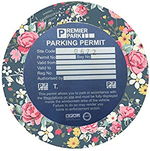 car parking permit disc holder MOT licence vintage pink rose