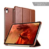 iPad Pro 11 Case 2018, ICARER Vintage Series Genuine Leather Folio Flip Smart Cover Leather Case with Auto Wake/Sleep Function [Magnetic Latch] Kickstand for Apple iPad 2018 11 inch Model (Brown) (Color: iPad 11 Brown)