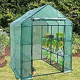 Serre de jardin casa pura® | pour tomates et autres plantes | 12 ou 18 tablettes, corde et piquets inclus | résistant aux intempéries, stabilisé UV | Biotopia - 12 tablettes (143x143x195cm)