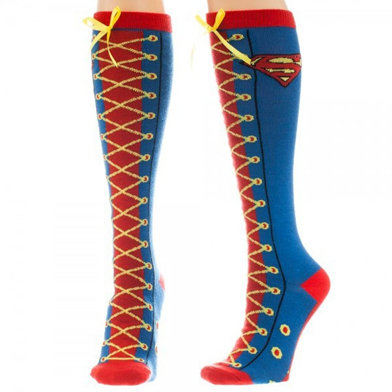 Superman Supergirl Faux Lace Up Knee High Socks supergirl vol 01 power