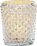 Luna Bazaar Diamond Motif Mercury Glass Tea Light Candle Holder (3-Inch, Silver)