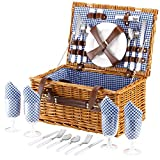 Search : VonShef 4 Person Wicker Picnic Basket Hamper Set with Flatware, Plates and Wine Glasses Included Blue Checked Pattern Lining