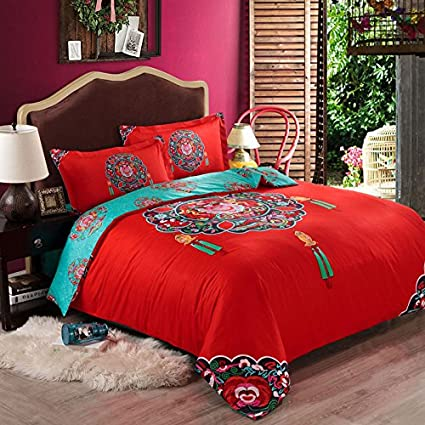 Dragon bedroom dragon decor ideas yoyomall high quality hand embroidery dragon and phoenix red wedding duvet cover setbeautiful wedding bedding setbedding set for couples queen king size ccuart Gallery