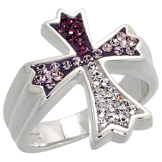 Sterling Silver wide, Gothic Cross Ring Clear & Amethyst-colored CZ Stones