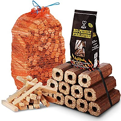 The Chemical Hut Fire Wood Pack- 12 Pack Of Eco Wooden Heat Logs 3kg Kindling 96 Pk Of Eco Firelighters - Comes With Tch Antibac Pen from The Chemical Hut