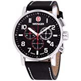 Wenger Men's Attitude Chrono Watch with Leather Strap (Color: Black Dial, Black Suede Leather Strap)